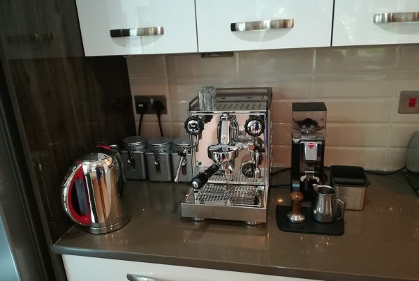 Rocket Appartamento and Gloss Black Mignon MK II Coffee Grinder